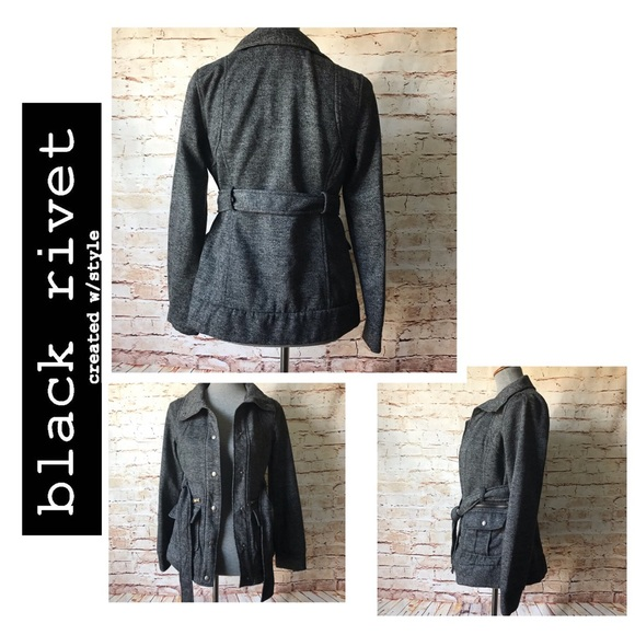 Black Rivet Jackets & Blazers - Black Rivet Asymmetrical Short Peplum Trench NWOT